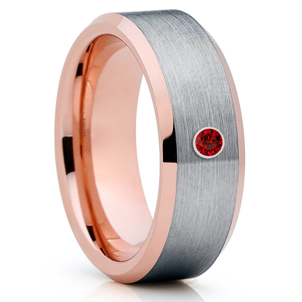 Ruby Wedding Band - Rose Gold Tungsten - Tungsten Wedding Band - Grey Ring - Clean Casting Jewelry