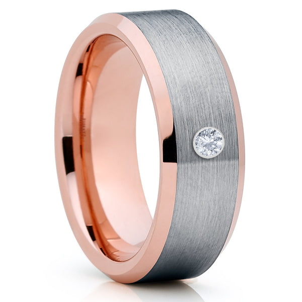 Rose Gold Tungsten Ring - White Diamond Ring - Men's Wedding Band - Clean Casting Jewelry