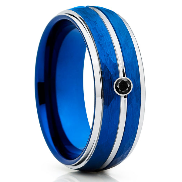 Blue Tungsten Wedding Band - Black Diamond Tungsten Ring - Hammered Ring - Clean Casting Jewelry