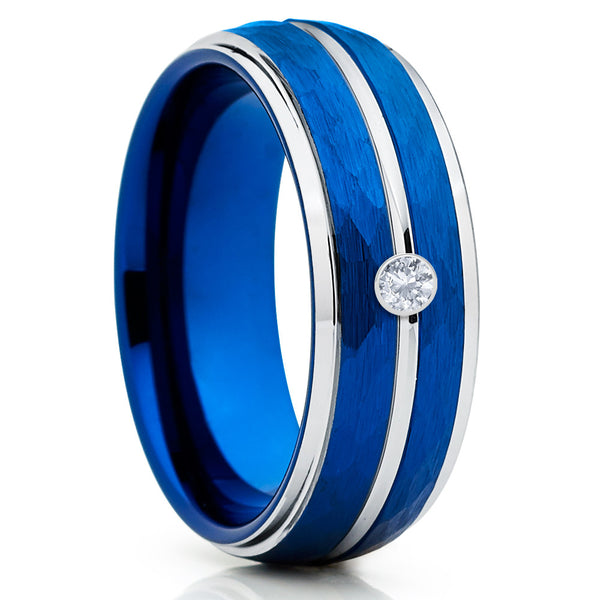 White Diamond Tungsten - Blue Tungsten Ring - Tungsten Wedding Band - Handmade