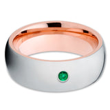 Rose Gold Tungsten - Emerald Tungsten Ring - Tungsten Wedding Band - Shiny - Clean Casting Jewelry