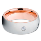 Rose Gold Tungsten - Wedding Ring - Tungsten Carbide - White Diamond - Clean Casting Jewelry