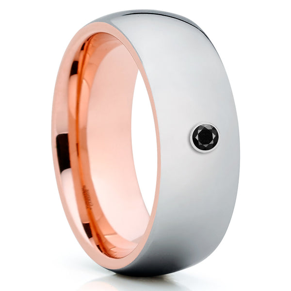 Rose Gold Tungsten Wedding Band - Black Diamond Ring - Silver Tungsten Ring - Clean Casting Jewelry