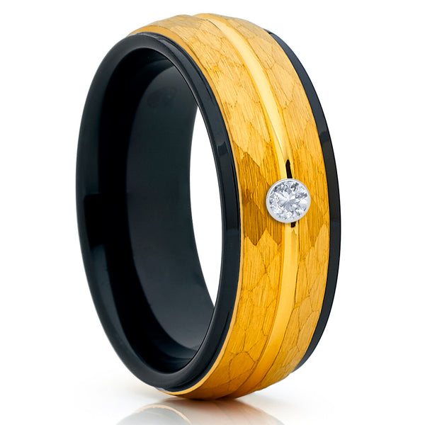 Yellow Gold Tungsten - White Diamond Tungsten Ring - Black - Hammered Ring - Clean Casting Jewelry