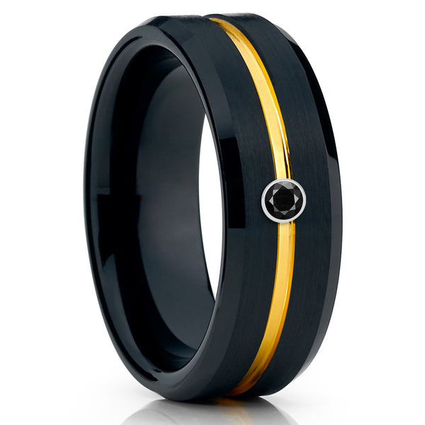 Men's Black Tungsten Ring - Yellow Gold Tungsten Band - Black Diamond Ring