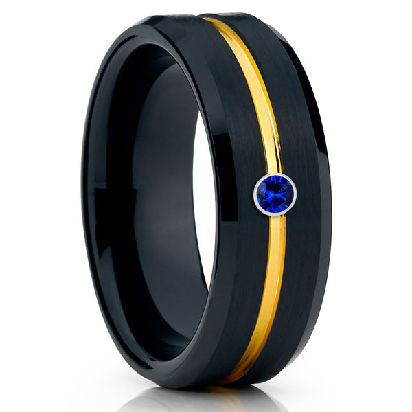 Men's Tungsten Wedding Band - Yellow Gold - Black Tungsten Ring -8mm - Clean Casting Jewelry