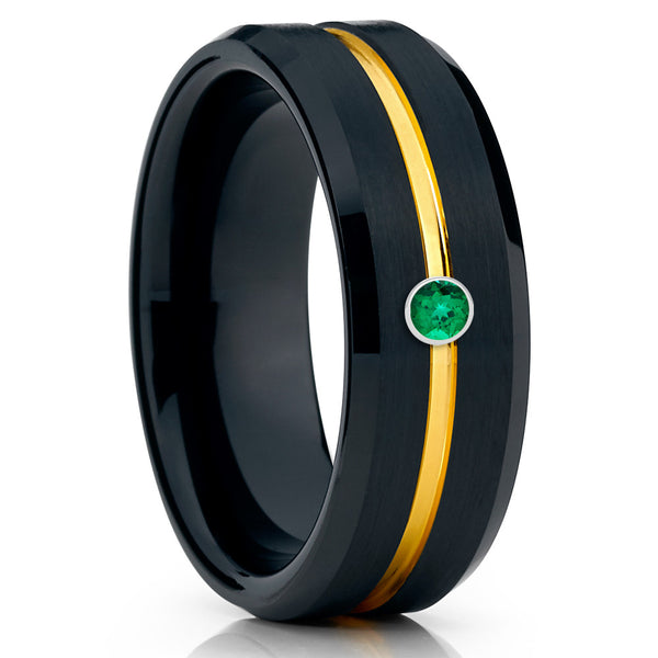 Black Tungsten Wedding Band - Yellow Gold Tungsten - Emerald Ring - 8mm - Clean Casting Jewelry
