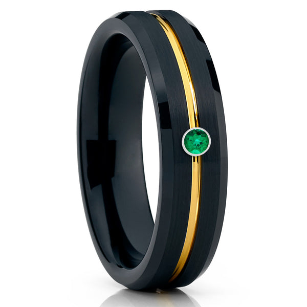 6mm - Black Tungsten Ring - Emerald Ring - Yellow Gold Tungsten Ring - Clean Casting Jewelry