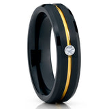 6mm - Black Tungsten Ring - White Diamond - Yellow Gold Tungsten - Clean Casting Jewelry