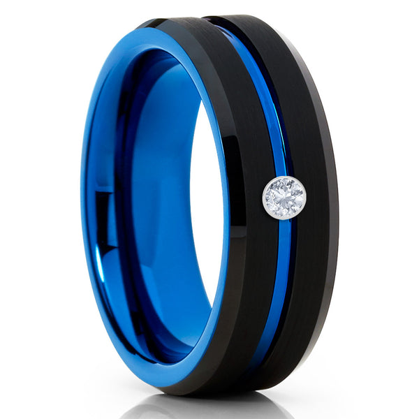 Blue Tungsten Ring - White Diamond Ring - Black Tungsten - Men's Ring