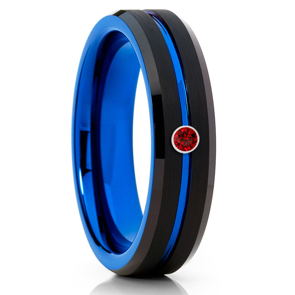Blue Tungsten Ring - Ruby Wedding Band - Black - Blue Wedding Band - 6mm - Clean Casting Jewelry