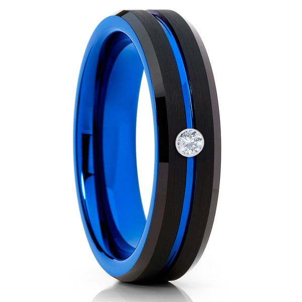 6mm,Blue Tungsten Ring,Unisex Ring,White Diamond Ring,Blue Tungsten Band,Brush
