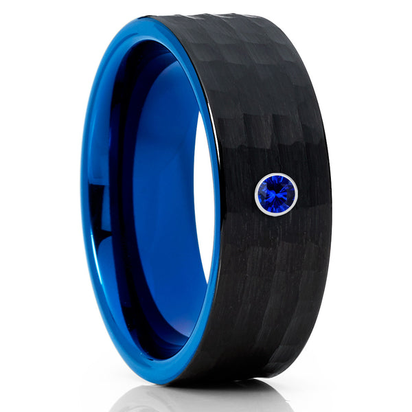 Blue Wedding Band - Black Tungsten Ring - Blue Sapphire - Hammered - Clean Casting Jewelry