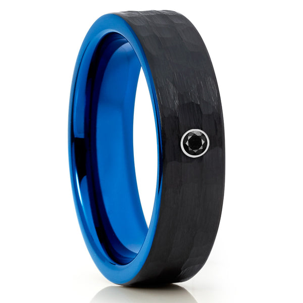 Black Tungsten Band - Hammered Ring - Blue Tungsten - Black Diamond Ring - Clean Casting Jewelry