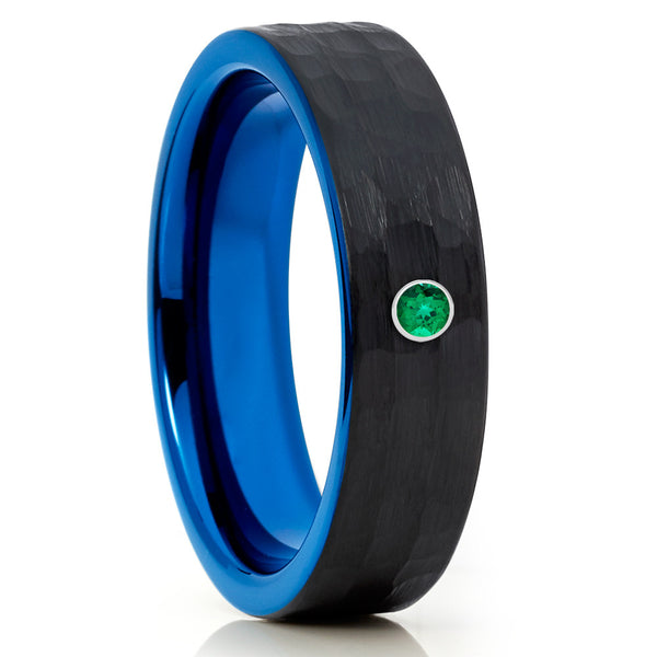 6mm Tungsten Ring Black Tungsten Ring Emerald Wedding Band Hammered