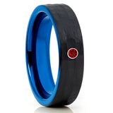 Ruby Tungsten Wedding Band - Blue Tungsten Ring - Black Tungsten - 6mm - Clean Casting Jewelry