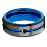 Blue Tungsten Wedding Band - Gunmetal - Black Diamond Tungsten Ring - 8mm - Clean Casting Jewelry