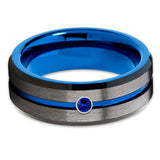 Blue Sapphire Tungsten Ring - Blue Tungsten Ring - Gunmetal - Black Tungsten - Clean Casting Jewelry