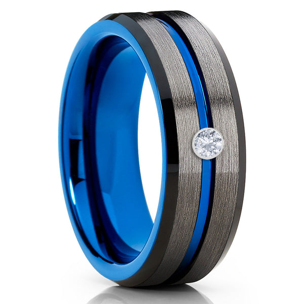 8mm - White Diamond Tungsten - Blue Tungsten Ring - Gunmetal Ring - Men's