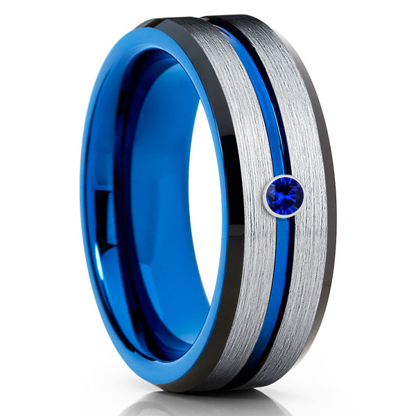 Blue Tungsten Wedding Band - Blue Sapphire Ring - Black Tungsten Ring - Clean Casting Jewelry