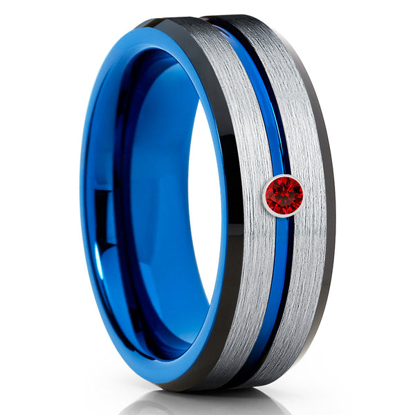 Ruby Tungsten Wedding Band - Blue Tungsten Ring - Silver Tungsten Ring - Clean Casting Jewelry