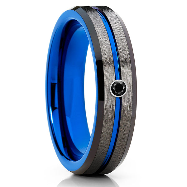 Blue Tungsten Wedding Band - Gray Tungsten Ring - Gunmetal Ring - Brush Ring - Clean Casting Jewelry