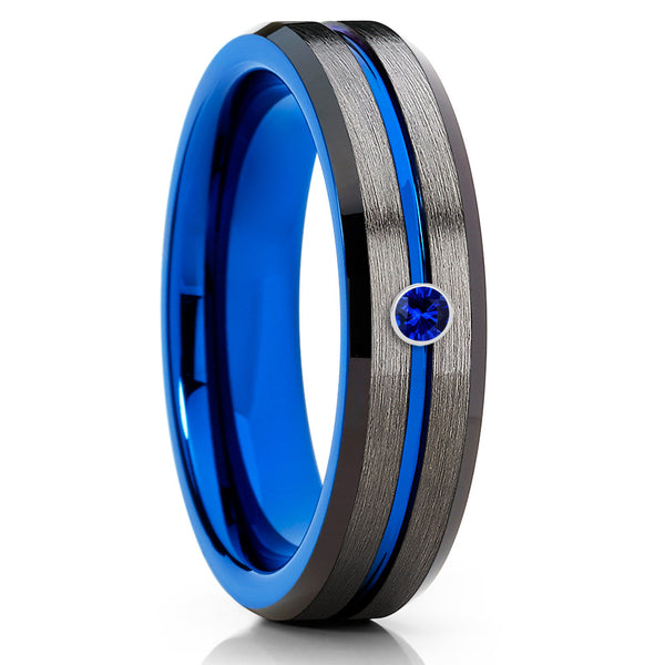 6mm - Blue Tungsten Wedding Band - Gunmetal Ring - Blue Sapphire Ring - Clean Casting Jewelry