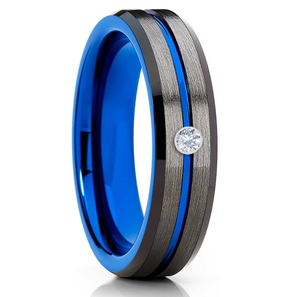 6mm - Anniversary Tungsten Ring - Blue Tungsten Ring - Handmade - Diamond Ring