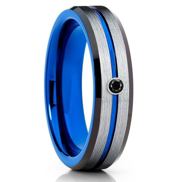 6mm - Black Diamond Tungsten Ring - Blue Tungsten - Silver Brush - Clean Casting Jewelry