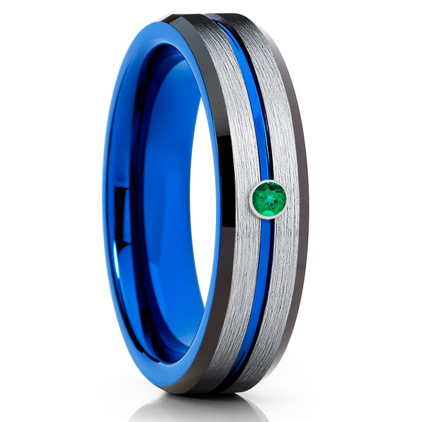6mm - Blue Tungsten Wedding Band - Emerald Tungsten Ring - Blue Tungsten Ring - Clean Casting Jewelry