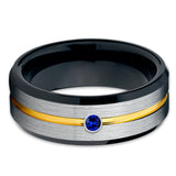 Yellow Gold Tungsten - Blue Sapphire Ring - Black Tungsten Band - 8mm - Clean Casting Jewelry