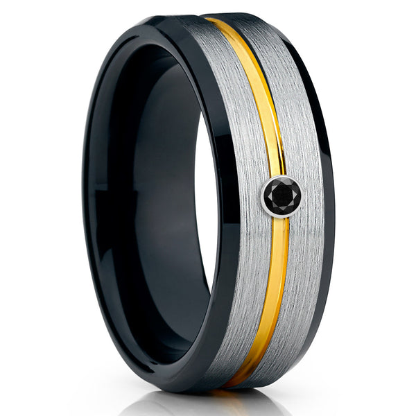 Yellow Gold Tungsten Ring - Black Diamond Ring - Black Tungsten Ring - Brush - Clean Casting Jewelry