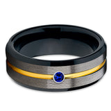 Yellow Gold Tungsten Ring - Black - Blue Sapphire Tungsten Ring - Gunmetal - Clean Casting Jewelry