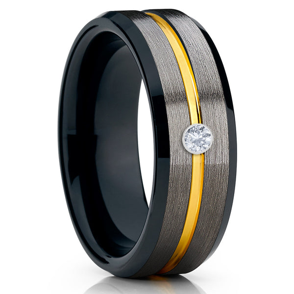 Yellow Gold Tungsten Ring - Gunmetal Ring - White Diamond Tungsten - 8mm - Clean Casting Jewelry