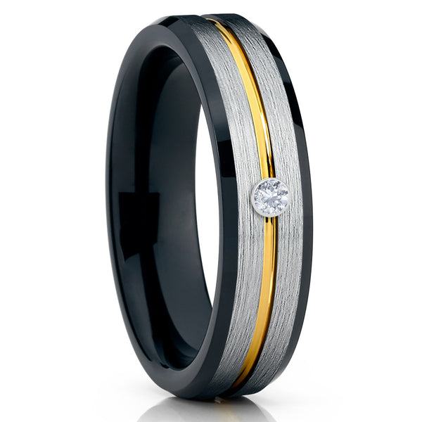 Black Tungsten Ring - White Diamond Tungsten Ring - Yellow Gold Groove - Clean Casting Jewelry
