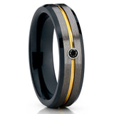 Yellow Gold Tungsten Ring - Black Diamond Band - Black Tungsten Ring - 6mm - Clean Casting Jewelry