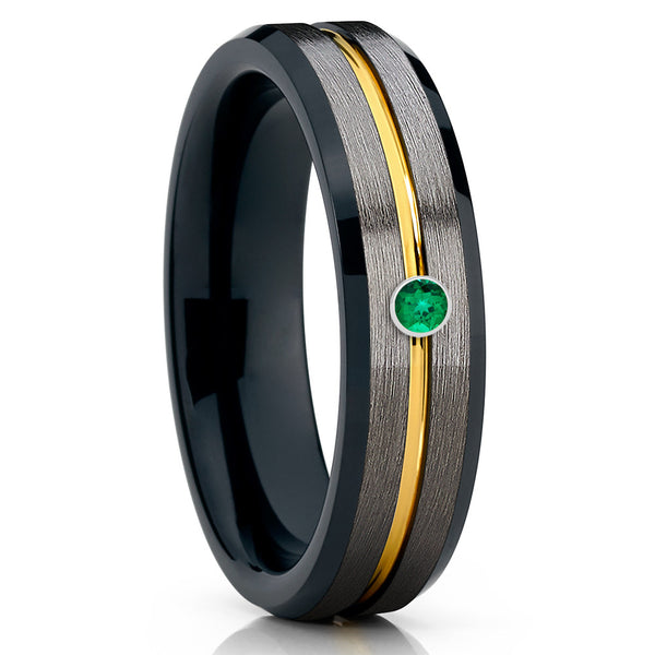 Gunmetal Wedding Band - Black Tungsten Ring - Yellow Gold - Emerald Ring - Clean Casting Jewelry