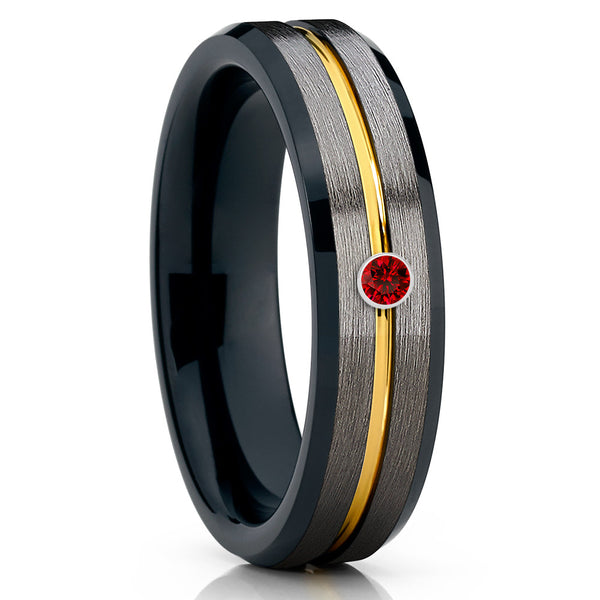 Black Tungsten Wedding Band - Ruby Tungsten Wedding Ring - Gunmetal - 6mm - Clean Casting Jewelry