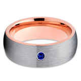 Rose Gold Tungsten Ring - Gray Ring - Blue Sapphire - Tungsten Wedding Band - Clean Casting Jewelry