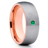 Emerald Tungsten Ring - Rose Gold Tungsten - Tungsten Wedding Band - 8mm - Clean Casting Jewelry