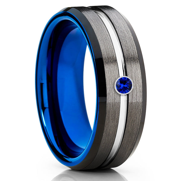 Gray Tungsten Ring - Blue Sapphire Tungsten Ring - Blue Tungsten Ring - Clean Casting Jewelry