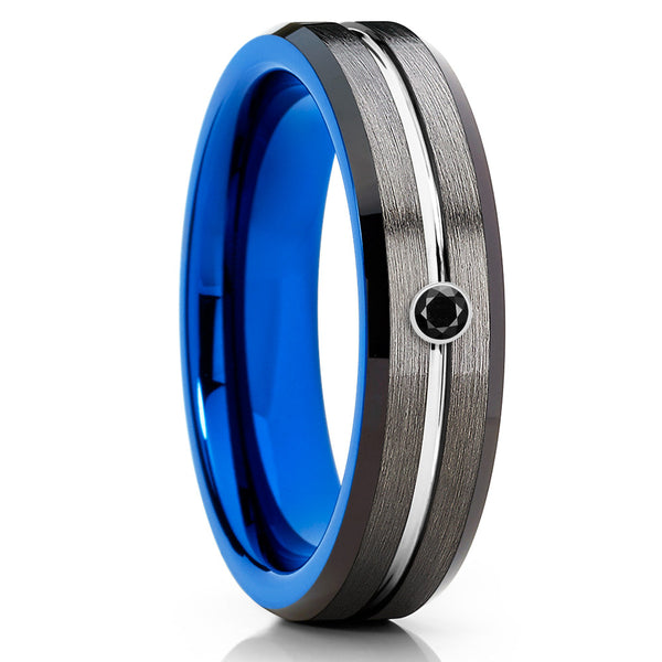 Gray Tungsten Wedding Band - Blue Tungsten Ring - Black Diamond Tungsten - Clean Casting Jewelry