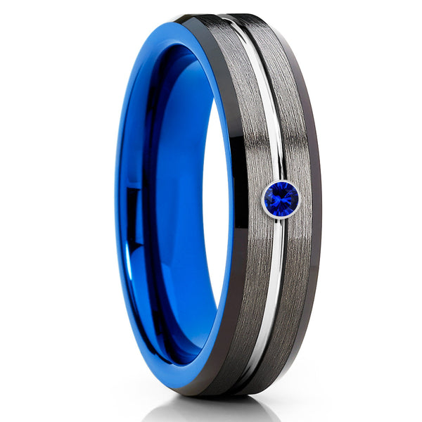 Blue Sapphire Tungsten Ring - Gunmetal Tungsten Ring - 6mm- Gray Ring - Clean Casting Jewelry
