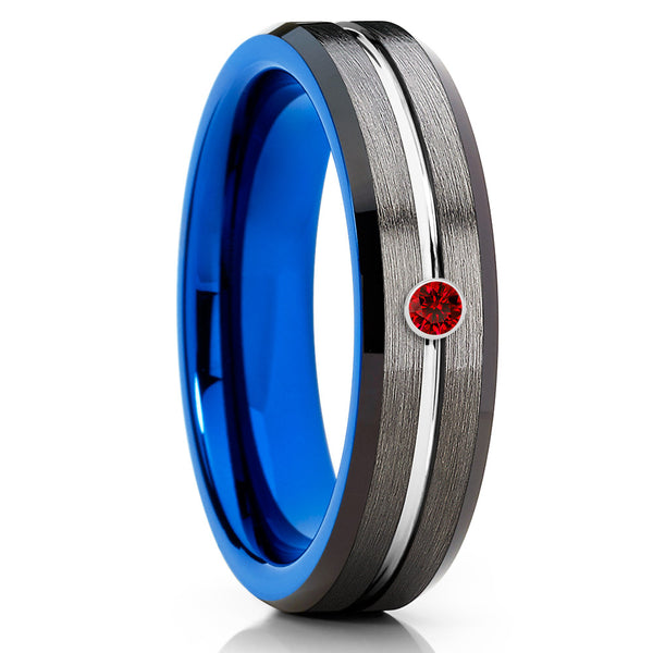 6mm - Blue Tungsten Ring - Ruby Tungsten Band - Gunmetal Tungsten Ring - Clean Casting Jewelry