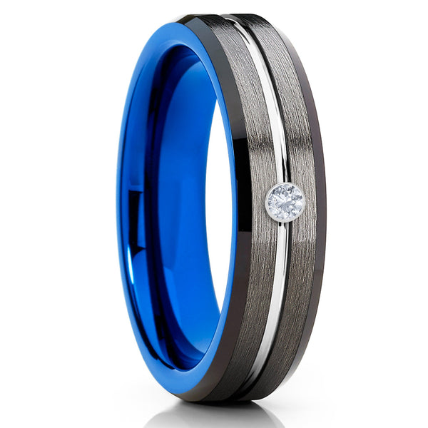 6mm - Blue Tungsten Ring - Gunmetal Tungsten Ring - White Diamond Tungsten - Clean Casting Jewelry