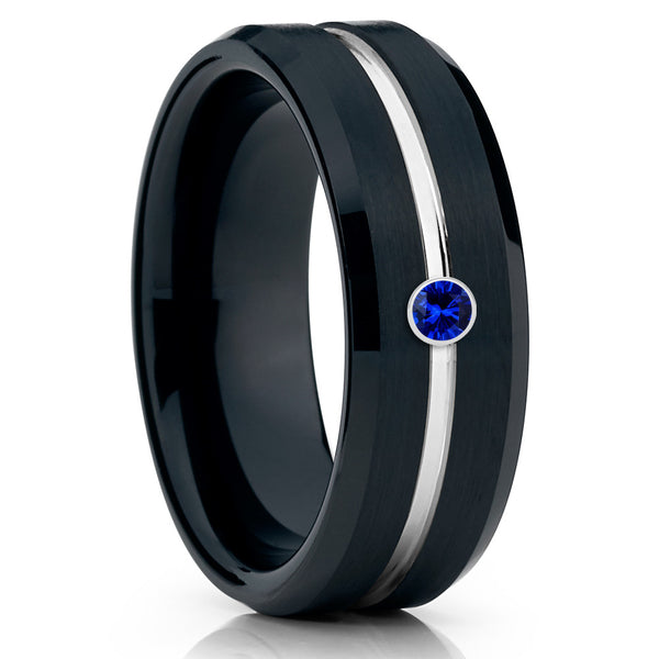 Black Wedding Band - Blue Sapphire - Tungsten Wedding Band - Men's Ring - Clean Casting Jewelry