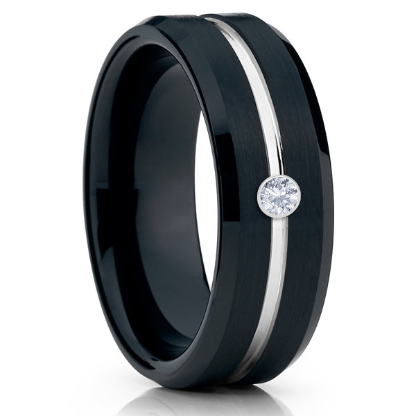 Black Wedding Band - Tungsten Ring - Men's Wedding Band - White Diamond - Clean Casting Jewelry