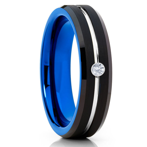 6mm - Blue Tungsten Ring - White Diamond Tungsten - Black Tungsten Ring - Clean Casting Jewelry