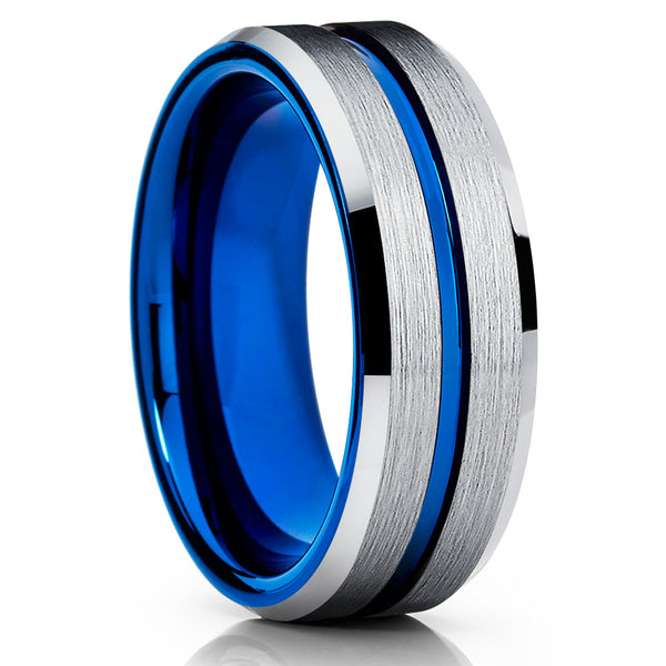 8mm,Blue Tungsten Ring,Brushed Finish,Handmade,Men's Tungsten Ring,Blue Groove