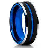 Unique Tungsten Ring,Blue Tungsten Ring,Handamde,8mm Tungsten,Black Brushed